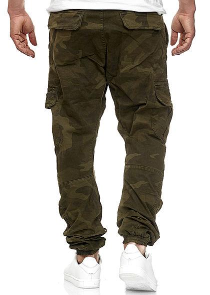 Seventyseven Lifestyle TB Herren Cargo Jeans 6-Pockets olive grün camouflage