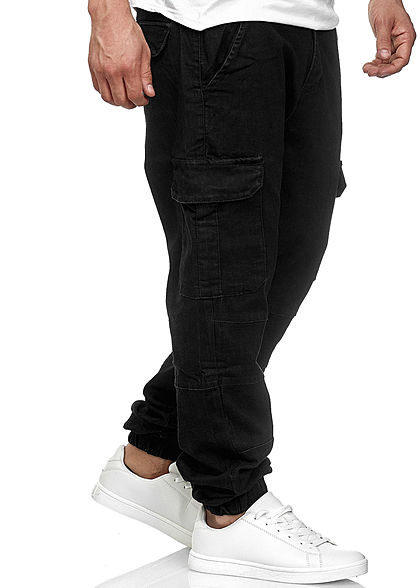 Seventyseven Lifestyle TB Herren Cargo Jeans 6-Pockets rinsed wash schwarz