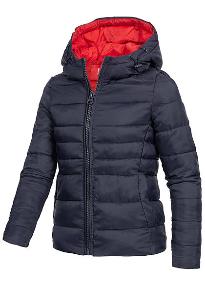 Hailys Kids Mädchen Nylon Steppjacke Kapuze 2-Pockets navy blau rot