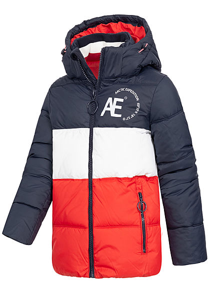 Hailys Kids Jungen Winter Steppjacke abnehmb. Kapuze 2-Pockets navy blau rot weiss