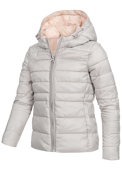 Hailys Kids Mädchen Nylon Steppjacke Kapuze 2-Pockets hell grau rosa
