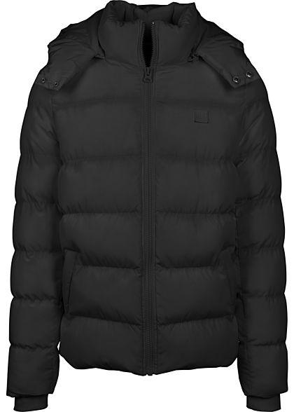 Urban Classics Herren Winter Pufferjacke mit Kapuze 2-Pockets schwarz