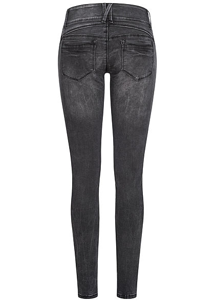 Hailys Damen Skinny Jeans Hose 5-Pockets Low Waist washed Look schwarz denim