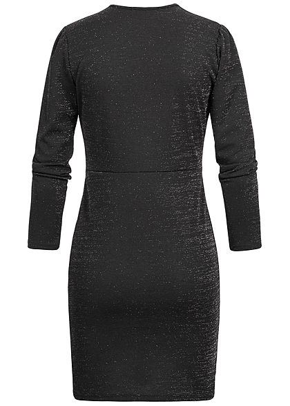 Hailys Damen V-Neck Mini Glitzer Kleid Langarm schwarz