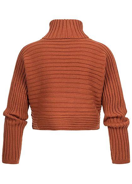 Hailys Damen Rollkragen Sweater Fledermausärmel caramel braun