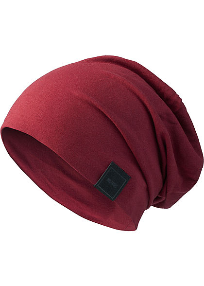 Seventyseven Lifestyle TB Basic Jersey Beanie Patch maroon bordeaux rot