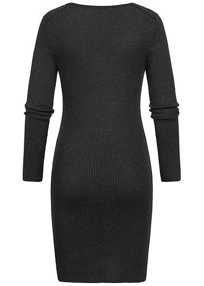 ONLY Damen Bodycon Glitzer Kleid V-Neck schwarz