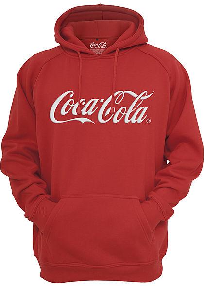 Merchcode TB Herren Hoodie Kapuze Coca Cola Patch Kängurutasche rot weiss