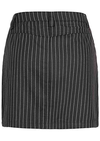 JDY by ONLY Damen Mini Rock Knopfleiste Streifen Muster schwarz weiss