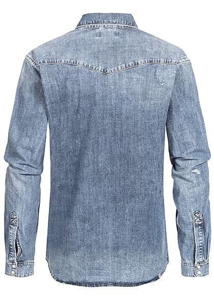 Jack and Jones Herren NOOS Denim Hemd Used-Look 2 Brusttaschen medium blau