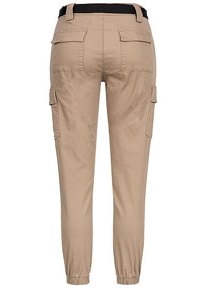 Hailys Damen High-Waist Cargo Jeans inkl. Gürtel 6-Pockets beige