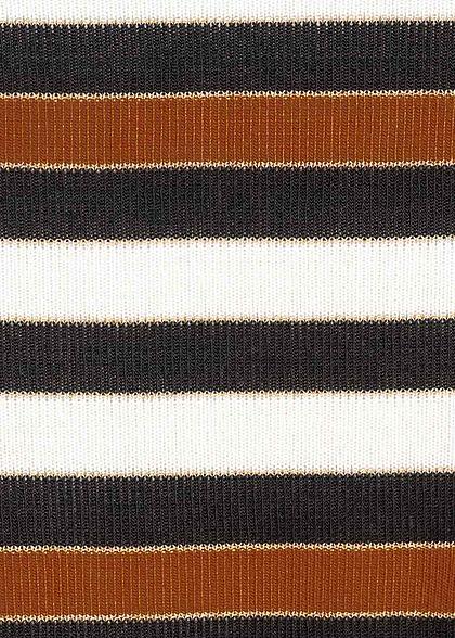 Zabaione Damen High-Neck Oversized Longsleeve Streifen Muster adobe braun