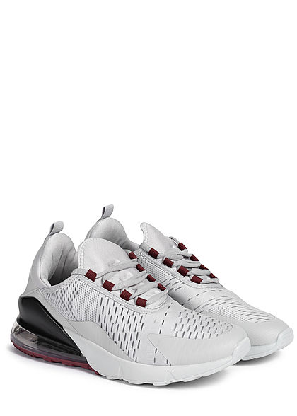 Seventyseven Lifestyle Herren Schuh 2-Tone Sneaker hell grau wine rot