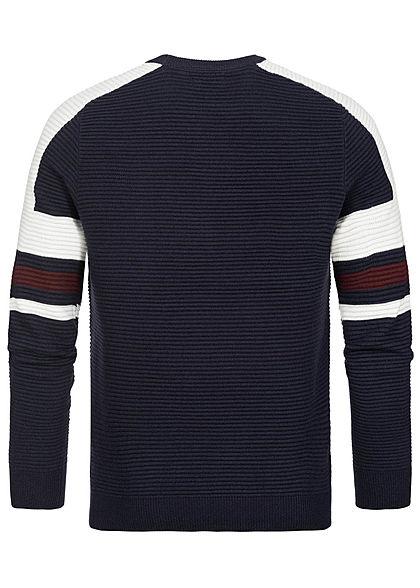 Brave Soul Herren Ribbed Sweater Struktur-Muster navy blau