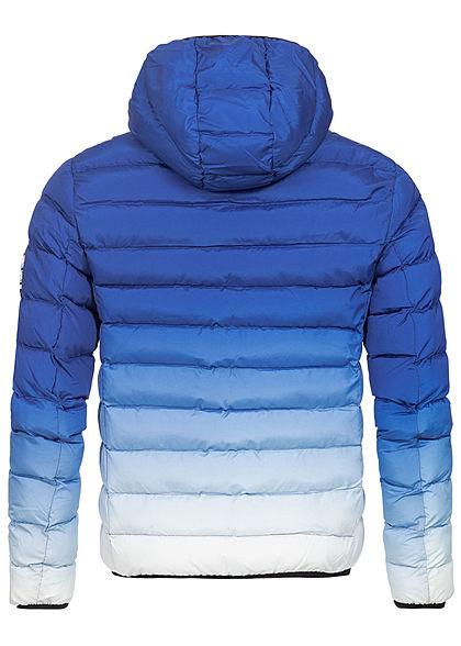 Brave Soul Herren Steppjacke Kapuze 2-Pockets Ombre-Look cobalt blau weiss