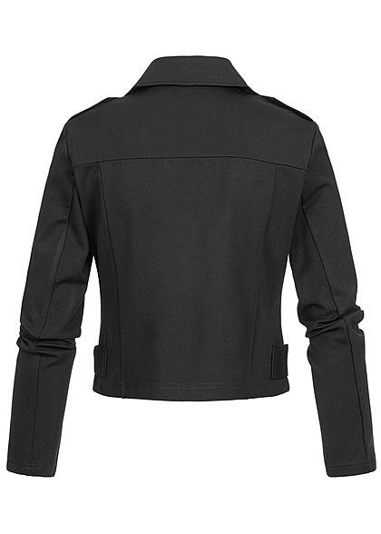ONLY Damen Poptrash Biker Kurz Jacke 2 Deko Zipper schwarz