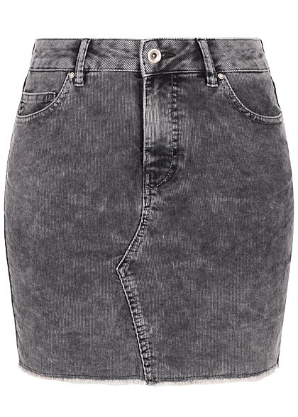 ONLY Damen Mini Cord Jeans Rock 5-Pockets Fransen washed schwarz denim