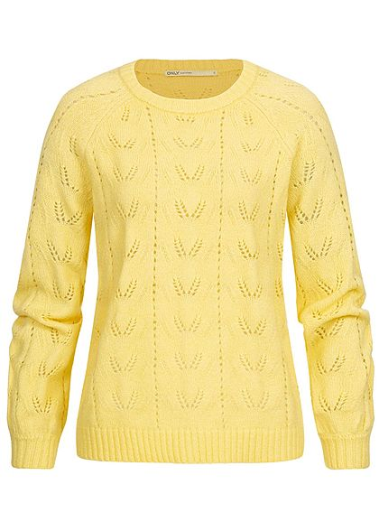 ONLY Damen Puffärmel Strickpullover pineapple gelb