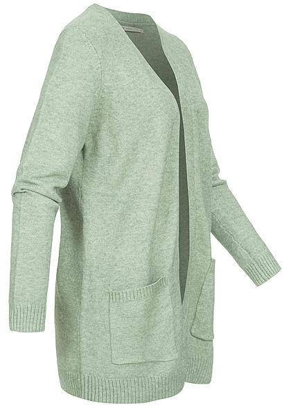 ONLY Damen NOOS Cardigan 2-Pockets offener Schnitt basil hell grün