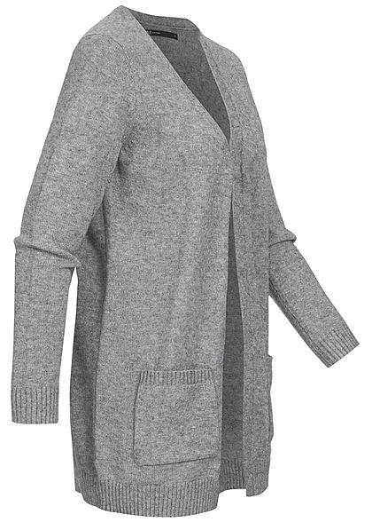 ONLY Damen NOOS Cardigan 2-Pockets offener Schnitt medium grau melange