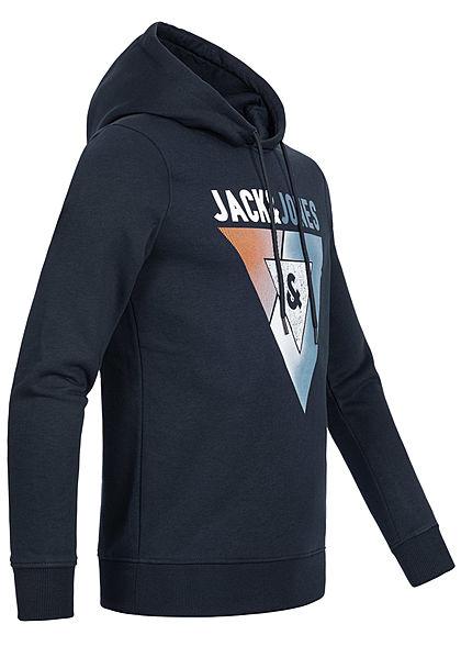 Jack and Jones Herren Hoodie Kapuze Logo Print sky captain blau