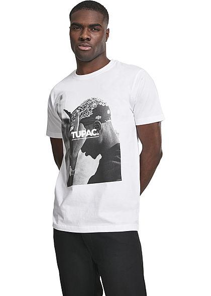 Mister Tee Herren T-Shirt 2Pac Print weiss