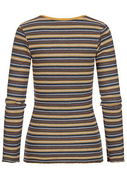 Sublevel Damen Multicolor Longsleeve Streifen Muster dunkel blau gelb