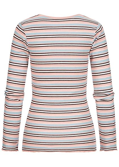 Sublevel Damen Multicolor Longsleeve Streifen Muster hell rosa blau