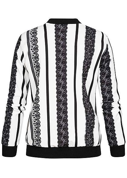Styleboom Fashion Damen Blouson Ornament Print weiss schwarz