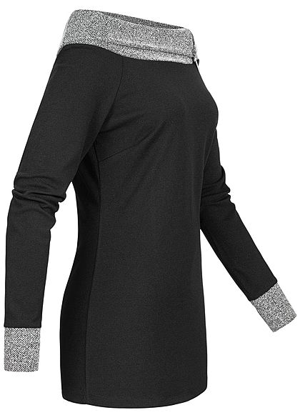 Styleboom Fashion Damen Off-Shoulder Melange Pullover Zipper schwarz grau