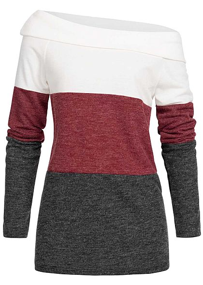 Styleboom Fashion Damen One-Shoulder Colorblock Sweater weiss bordeaux schwarz