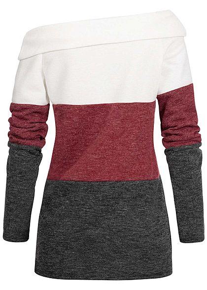 Styleboom Fashion Damen One-Shoulder Colorblock Sweater weiss bordeaux schwarz