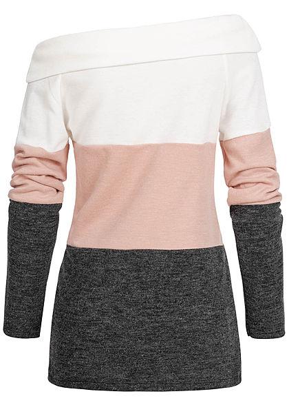 Styleboom Fashion Damen One-Shoulder Colorblock Sweater weiss rosa schwarz