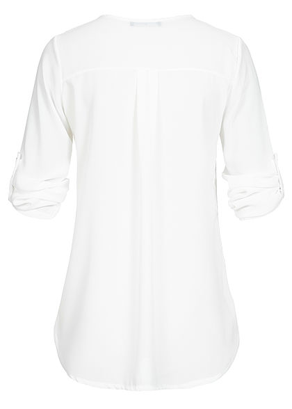 Styleboom Fashion Damen Turn-Up Chiffon Bluse Zipper weiss