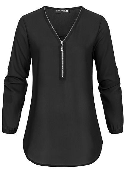 Styleboom Fashion Damen V-Neck Turn-Up Chiffon Bluse Zipper schwarz