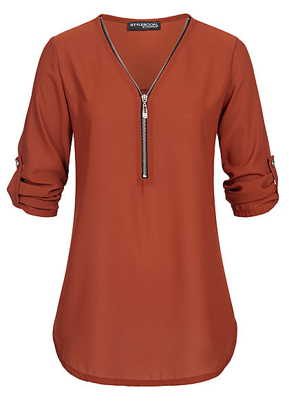 Styleboom Fashion Damen V-Neck Turn-Up Chiffon Bluse Zipper copper braun - Art.-Nr.: 20096415