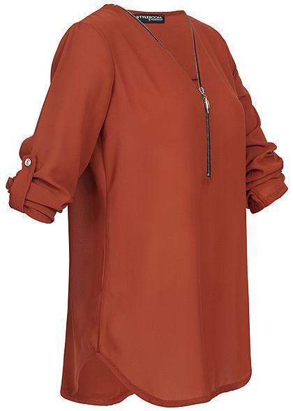 Styleboom Fashion Damen V-Neck Turn-Up Chiffon Bluse Zipper copper braun