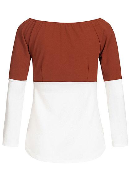 Styleboom Fashion Damen 2-Tone Off-Shoulder Bluse kupfer rot weiss