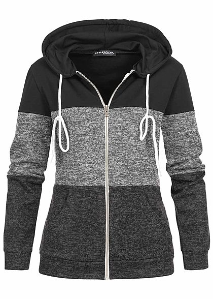 Styleboom Fashion Damen Colorblock Zip Hoodie Kapuze 2-Pockets schwarz