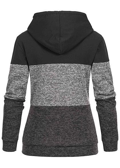 Styleboom Fashion Damen Colorblock Zip Hoodie Kapuze 2-Pockets schwarz