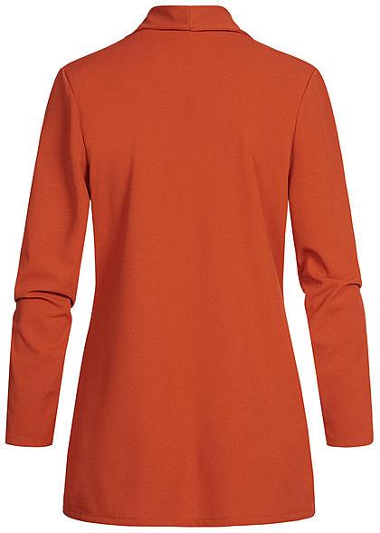 Styleboom Fashion Damen Long Blazer Cardigan 2 Deko Taschen kupfer rot