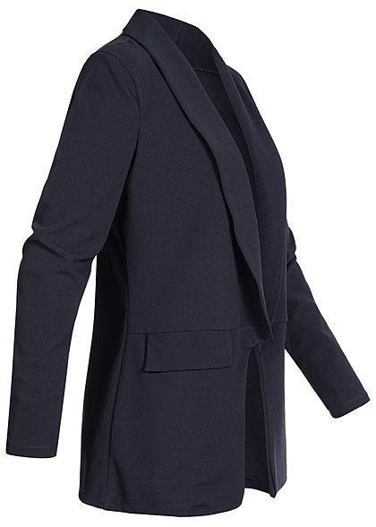 Styleboom Fashion Damen Long Blazer Cardigan 2 Deko Taschen navy blau