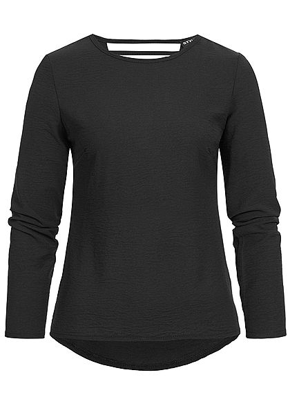 Styleboom Fashion Damen Wasserfall Longsleeve Shirt schwarz