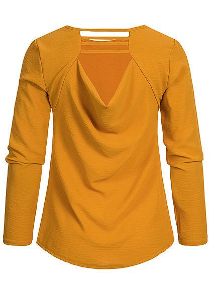 Styleboom Fashion Damen Wasserfall Longsleeve Shirt senf gelb