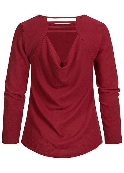 Styleboom Fashion Damen Wasserfall Longsleeve Shirt bordeaux rot