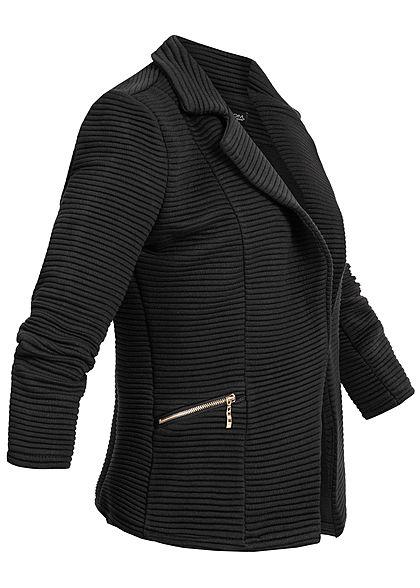 Styleboom Fashion Damen Ripp Blazer 2 Deko Zip Taschen schwarz
