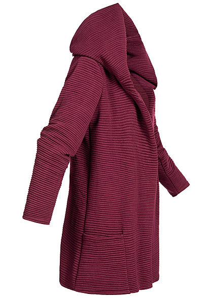 Styleboom Fashion Damen Ripp Cardigan Kapuze 2-Pockets bordeaux rot