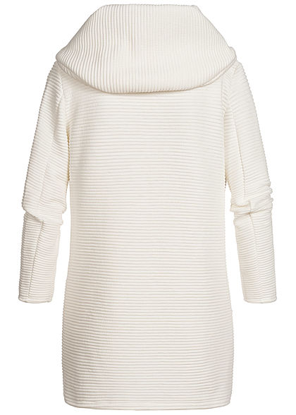 Styleboom Fashion Damen Ripp Cardigan Kapuze 2-Pockets weiss
