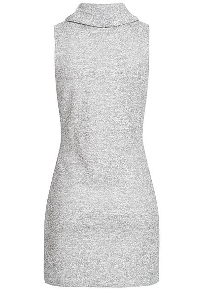 Styleboom Fashion Damen High-Neck Mini Kleid 2-Pockets hell grau melange