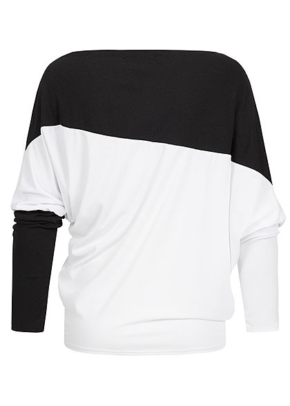 Styleboom Fashion Damen Oversized Fledermausärmel Shirt schwarz weiss